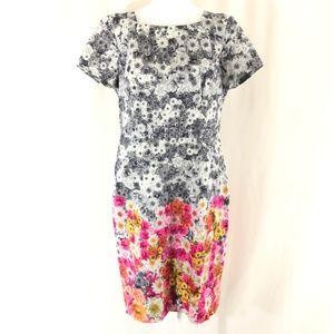 Talbots Sheath Dress Floral Short Sleeve Gray Pink